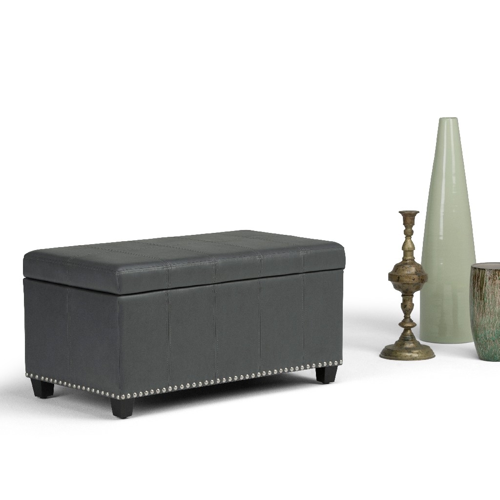 Amelia 34 inch Wide Traditional Rectangle Storage Ottoman Bench in Stone Grey Faux Leather - Simpli Home AXCOT-257-G