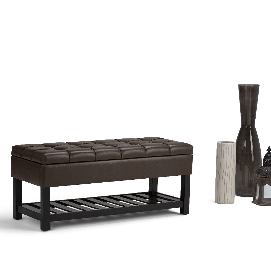 Simpli Home Saxon 44 inch Wide Traditional Rectangle Storage Ottoman Bench in Chocolate Brown Faux Leather - AXCOT-262-CBR