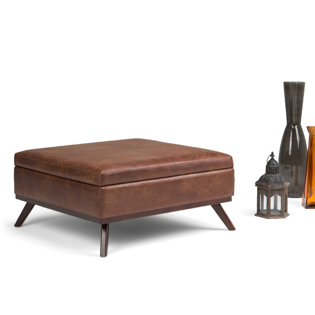 Distressed | Ottoman | Storage | Saddle | Coffee | Square | Brown | Table | Home