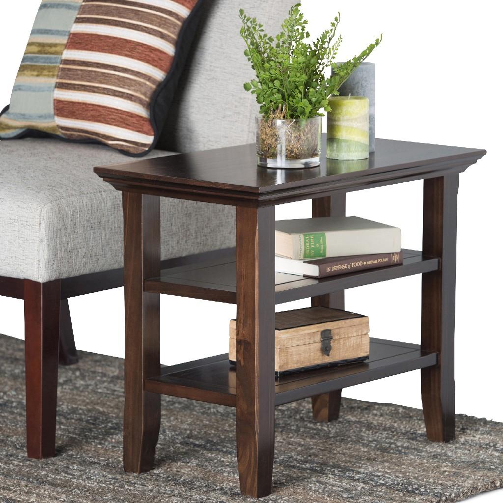 Acadian SOLID WOOD 14 inch Wide Rectangle Rustic Narrow Side Table in Brunette Brown - Simpli Home AXCRACA05-BRU