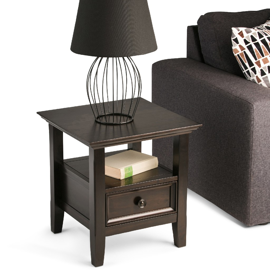 Amherst SOLID WOOD 19 inch Wide Square Traditional End Table in Hickory Brown - Simpli Home AXCRAMH03-HIC