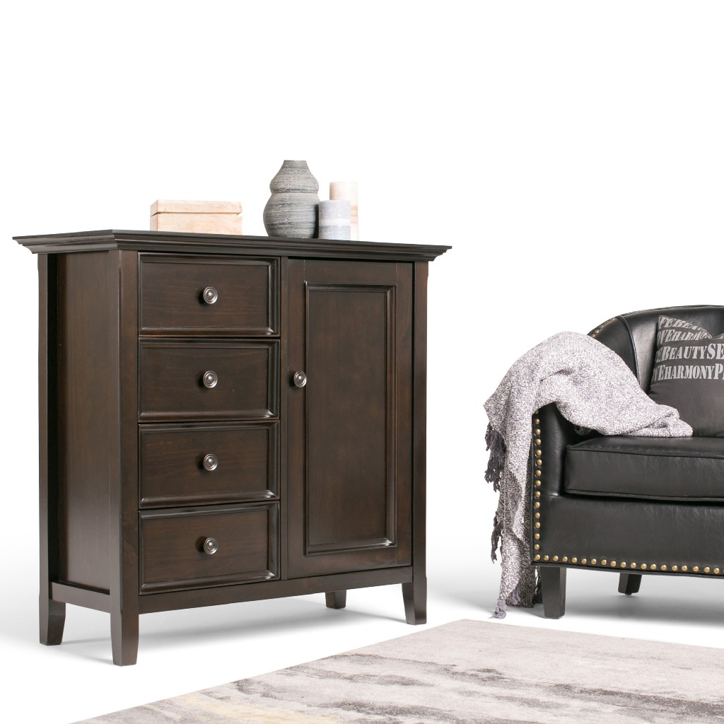 Amherst SOLID WOOD 37 inch Wide Transitional Medium Storage Cabinet in Hickory Brown - Simpli Home AXCRAMH15-HIC