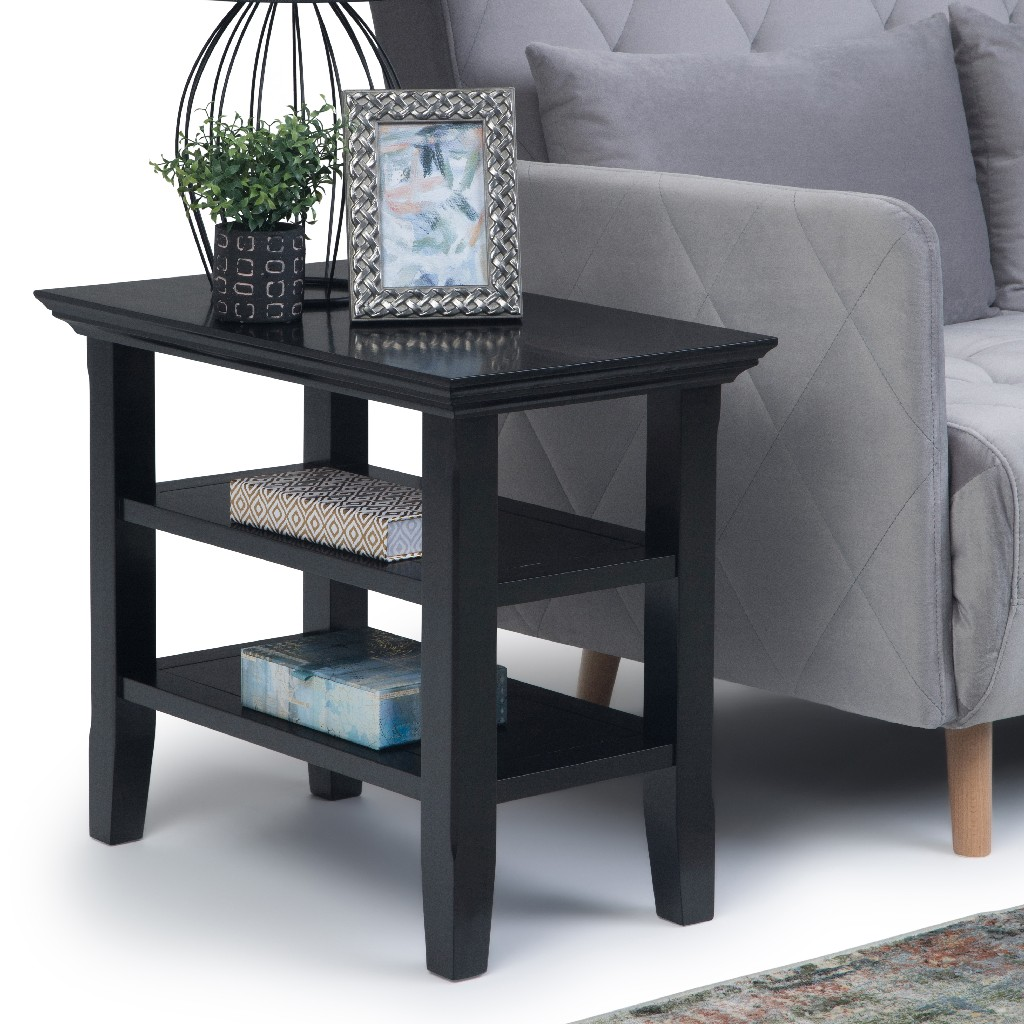Acadian SOLID WOOD 14 inch Wide Rectangle Rustic Narrow Side Table in Black - Simpli Home AXWELL3-008-BL