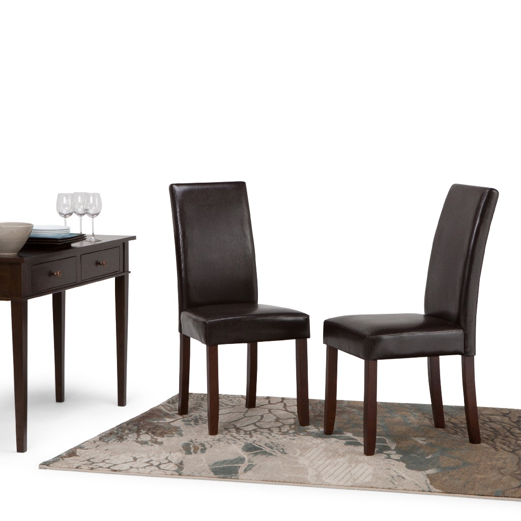Acadian Contemporary Parson Dining Chair (Set of 2) in Tanners Brown Faux Leather - Simpli Home WS5113-4
