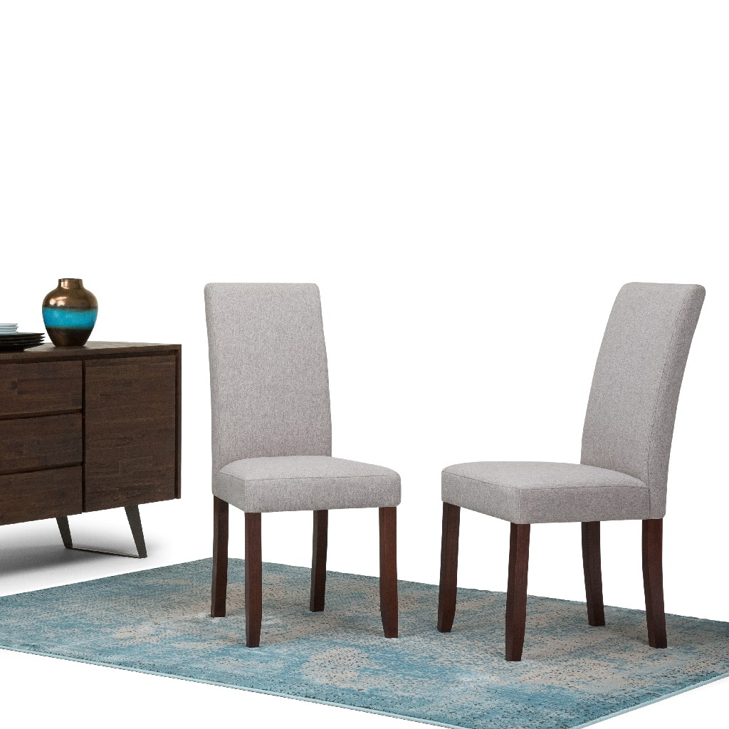 Acadian Contemporary Parson Dining Chair (Set of 2) in Cloud Grey Linen Look Fabric - Simpli Home WS5113-4-CLG