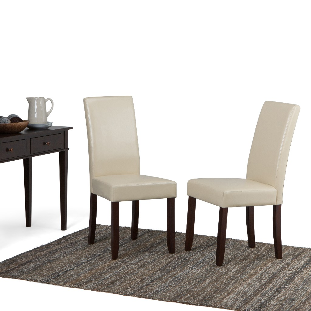Acadian Contemporary Parson Dining Chair (Set of 2) in Satin Cream Faux Leather - Simpli Home WS5113-4-CR