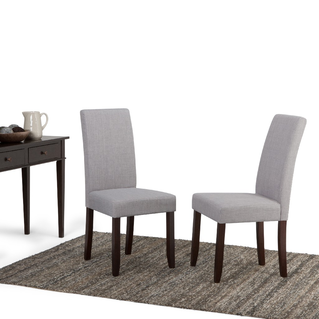 Acadian Contemporary Parson Dining Chair (Set of 2) in Dove Grey Linen Look Fabric - Simpli Home WS5113-4-DGL