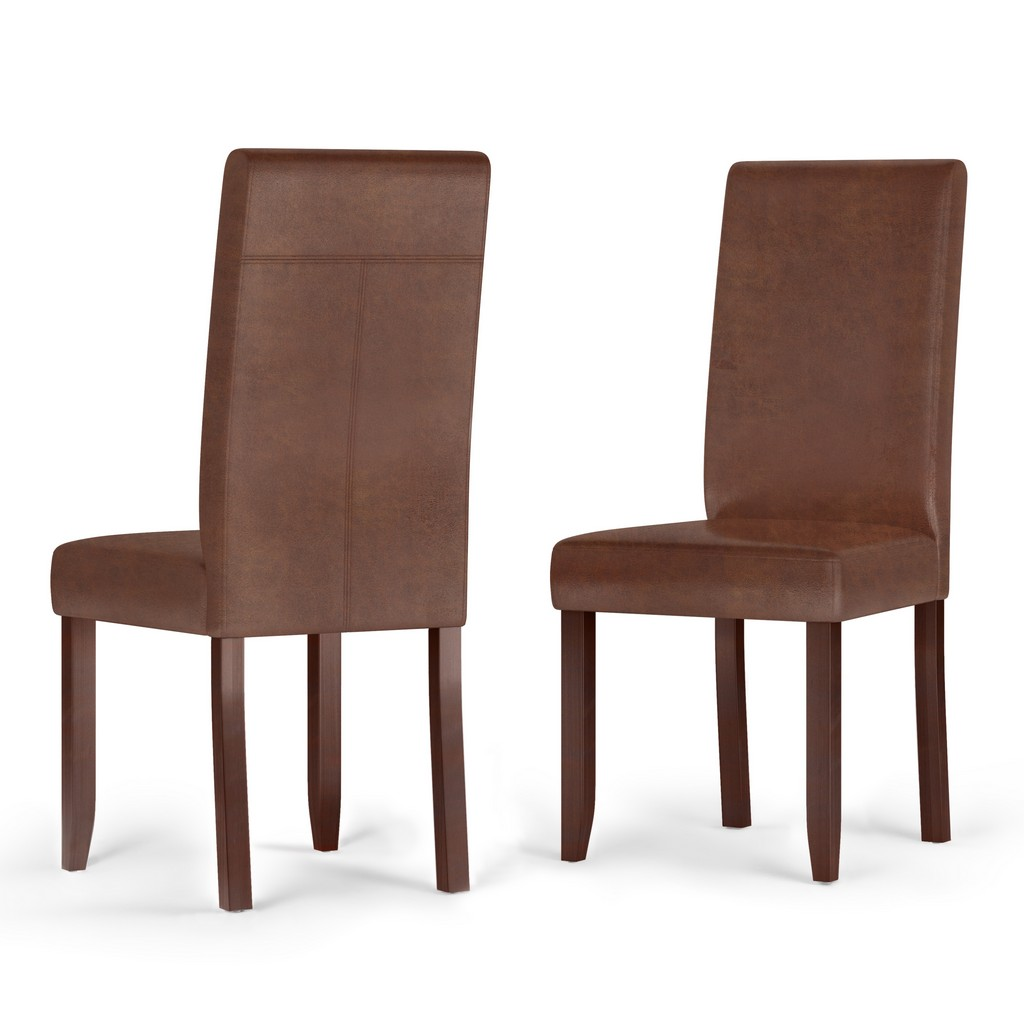 Acadian Contemporary Parson Dining Chair (Set of 2) in Distressed Saddle Brown Faux Leather - Simpli Home WS5113-4-DSB