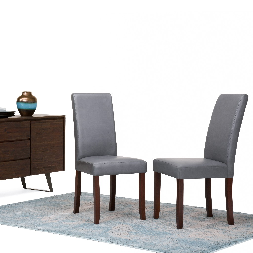 Acadian Contemporary Parson Dining Chair (Set of 2) in Stone Grey Faux Leather - Simpli Home WS5113-4-G