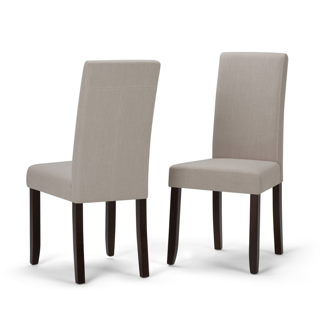 Acadian Contemporary Parson Dining Chair (Set of 2) in Light Beige Linen Look Fabric - Simpli Home WS5113-4-LBL