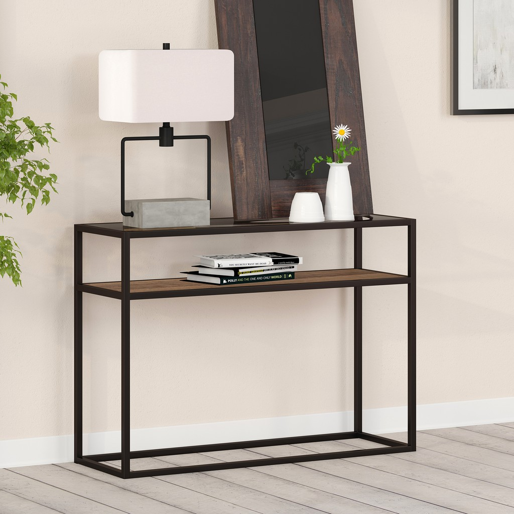 Addison Blackened Bronze and Rustic Oak Console Table - Hudson & Canal AT0164
