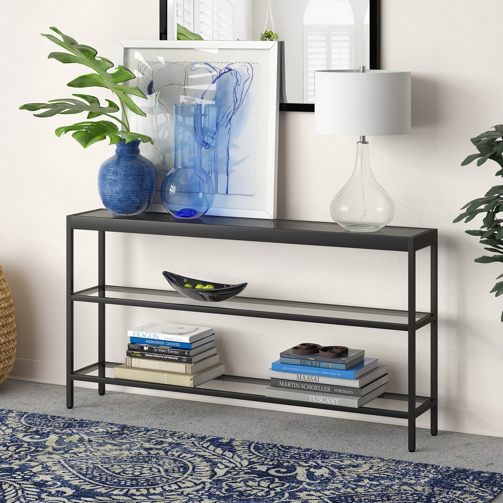 "Alexis 55"" Blackened Bronze Console Table - Hudson & Canal AT0233"