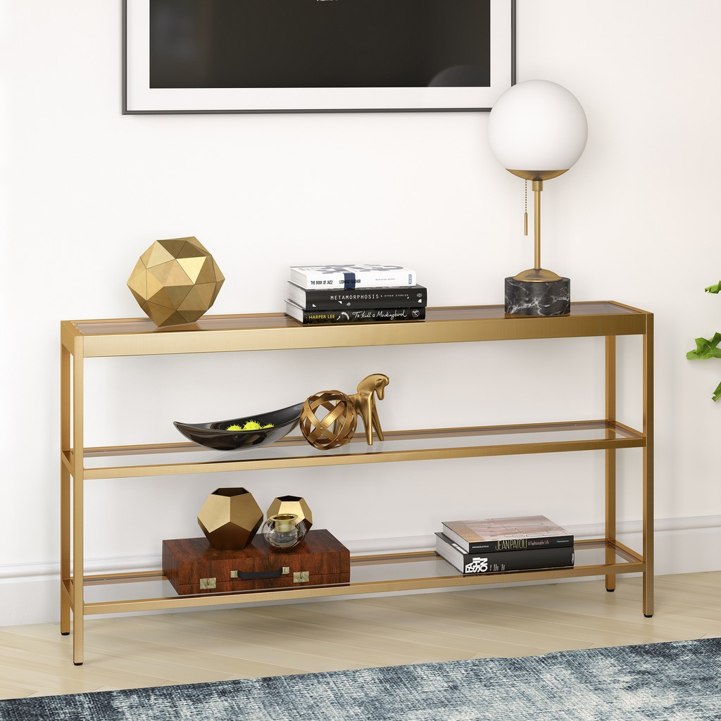 "Alexis 55"" Brass Finish Console Table - Hudson & Canal AT0234"