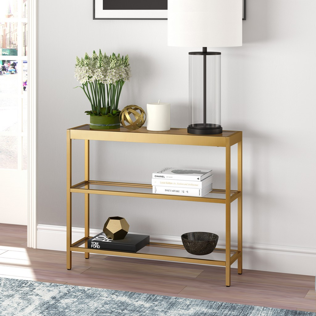 "Alexis 36"" Brass Finish Console Table - Hudson & Canal AT0236"