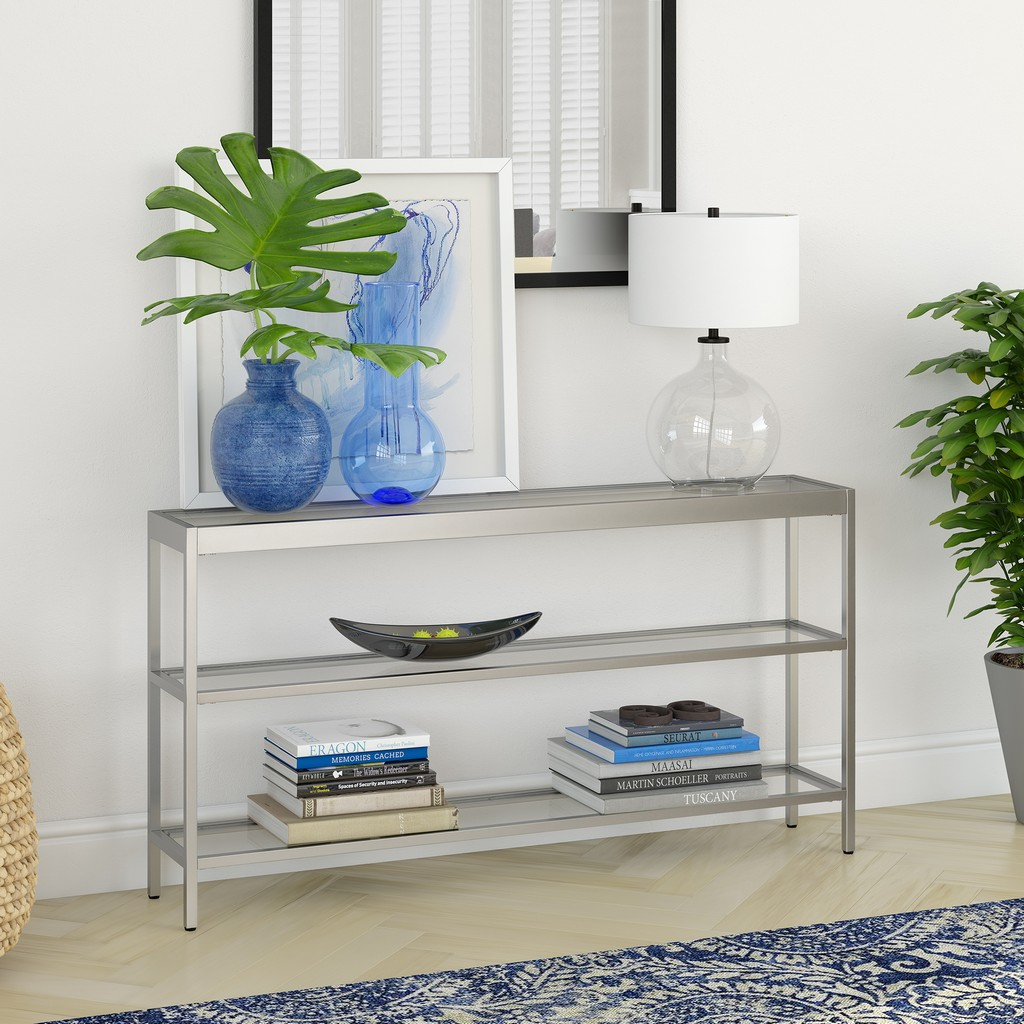 "Alexis 55"" Satin Nickel Console Table - Hudson & Canal AT0375"