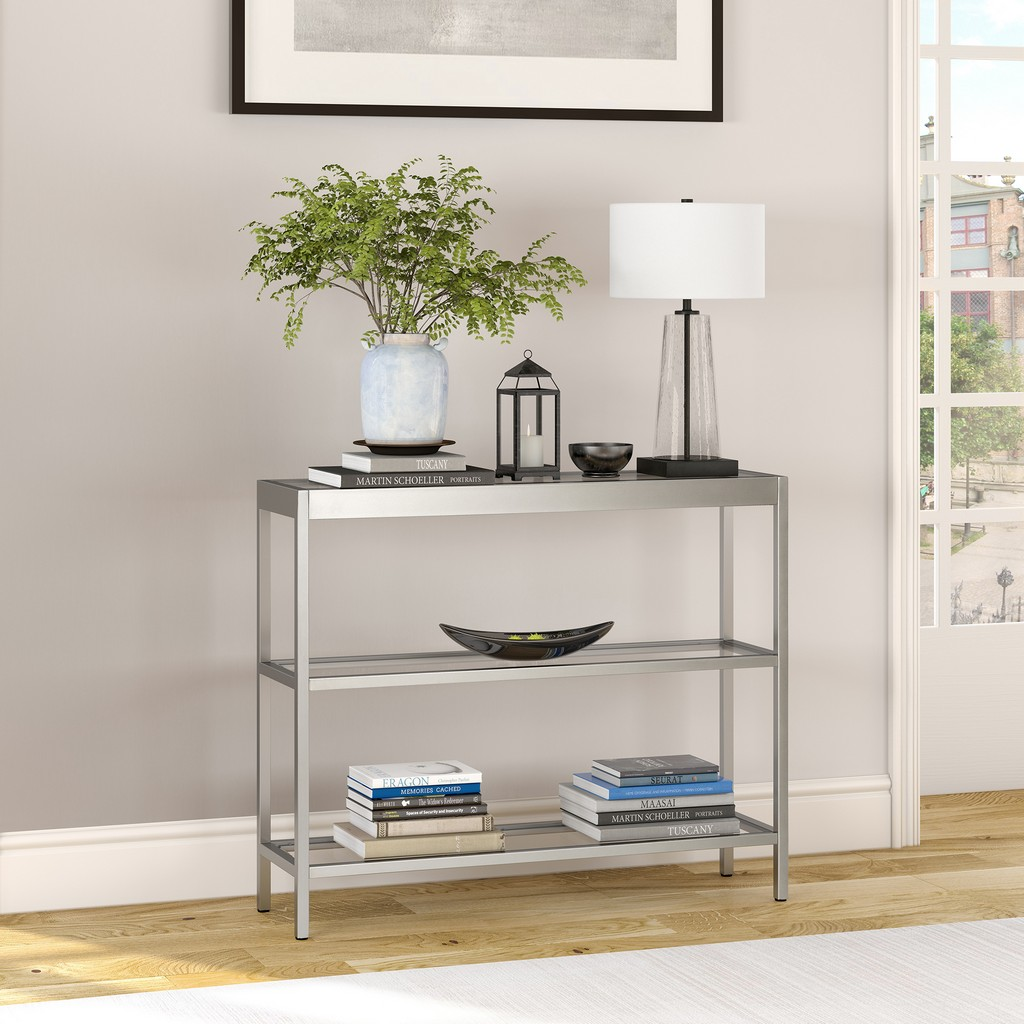 "Alexis 36"" Satin Nickel Console Table - Hudson & Canal AT0376"