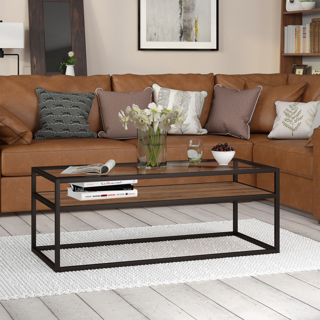 Addison Blackened Bronze and Rustic Oak Coffee Table - Hudson & Canal CT0160