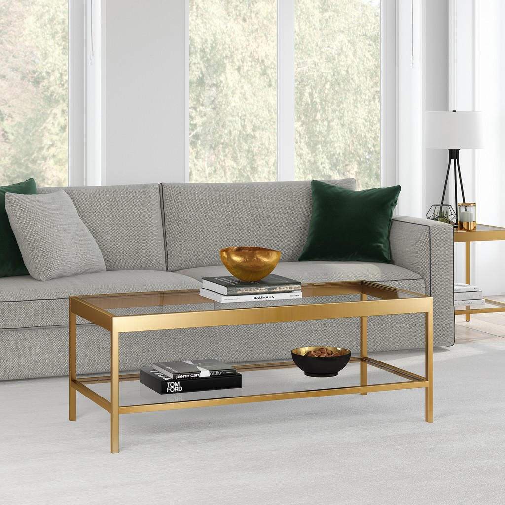 Alexis Brass Finish Coffee Table - Hudson & Canal CT0380