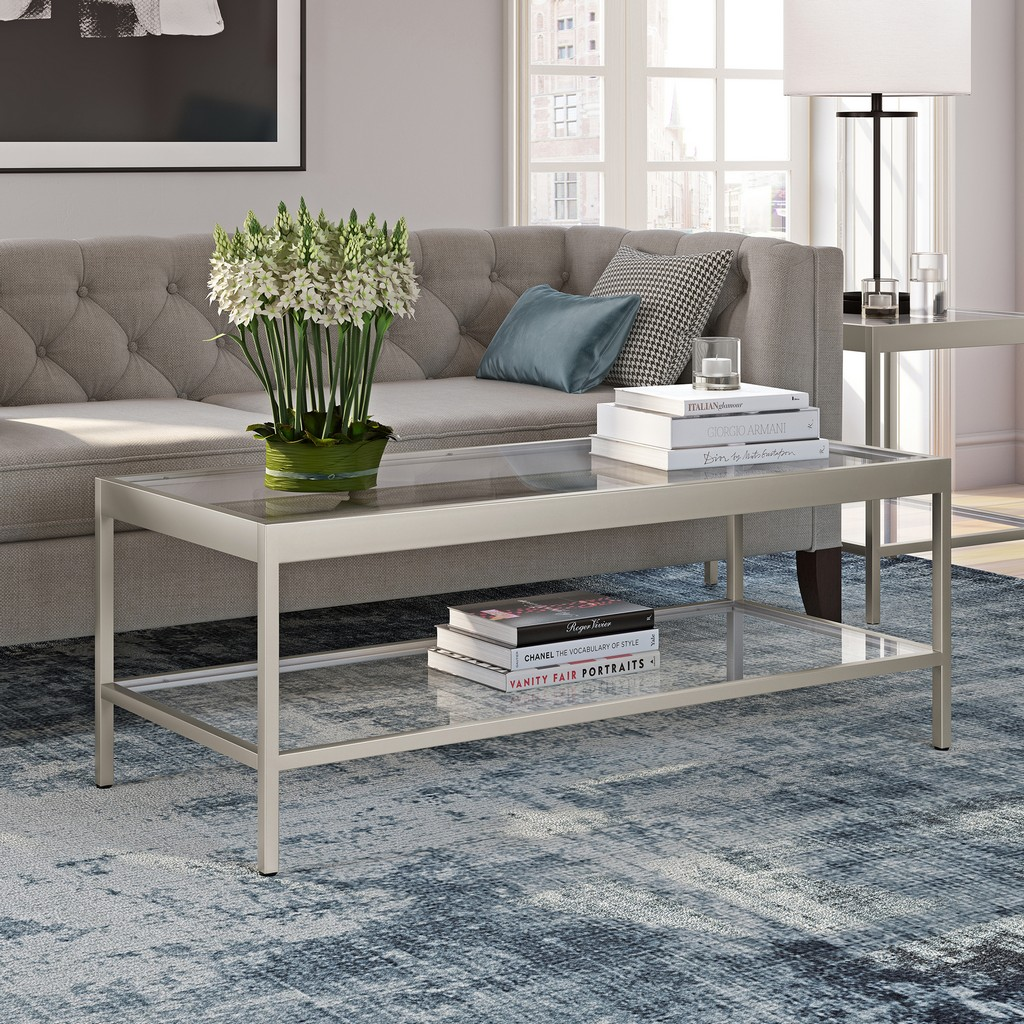 Alexis Satin Nickel Coffee Table - Hudson & Canal CT0382