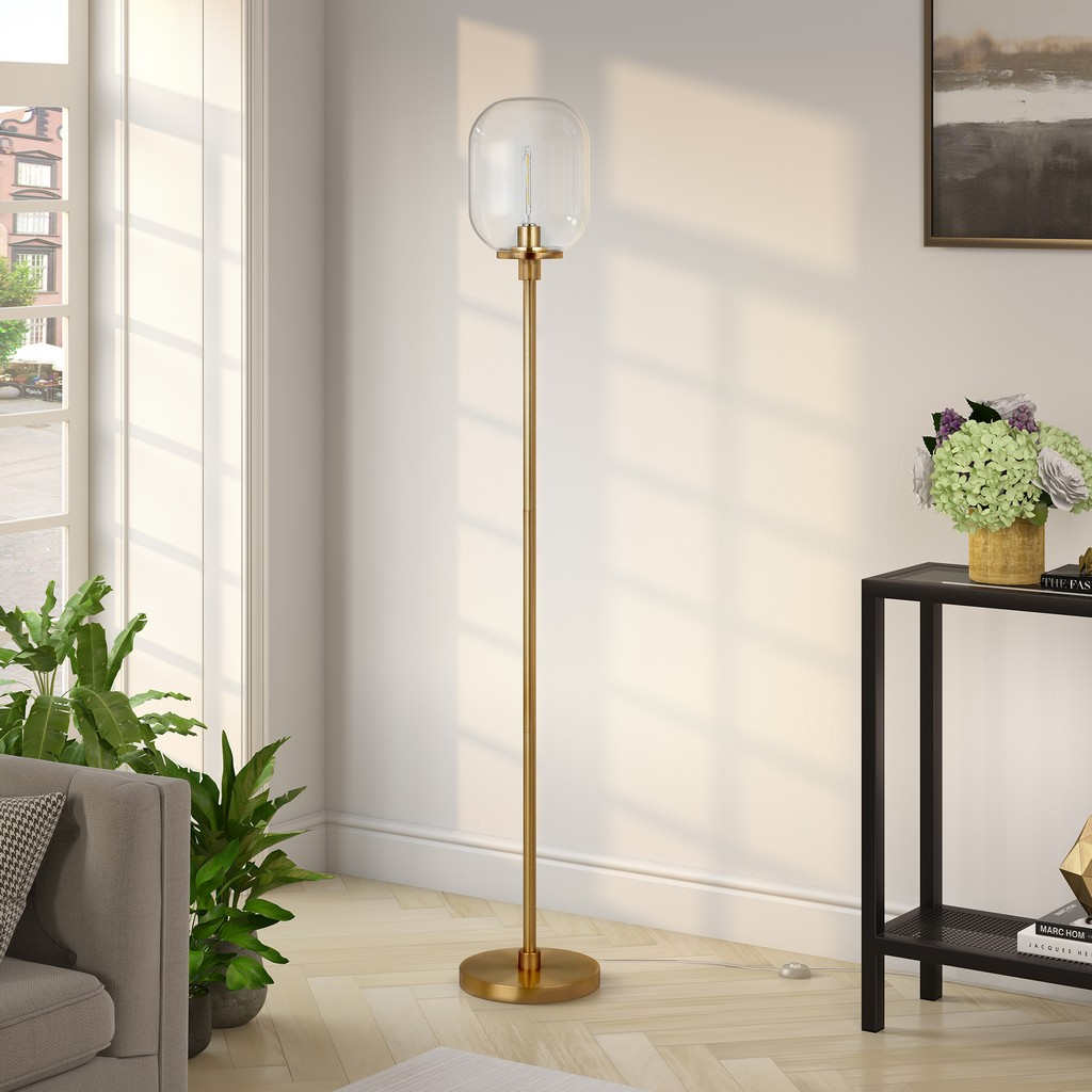 Agnolo Brass Finish Floor Lamp - Hudson & Canal FL0355
