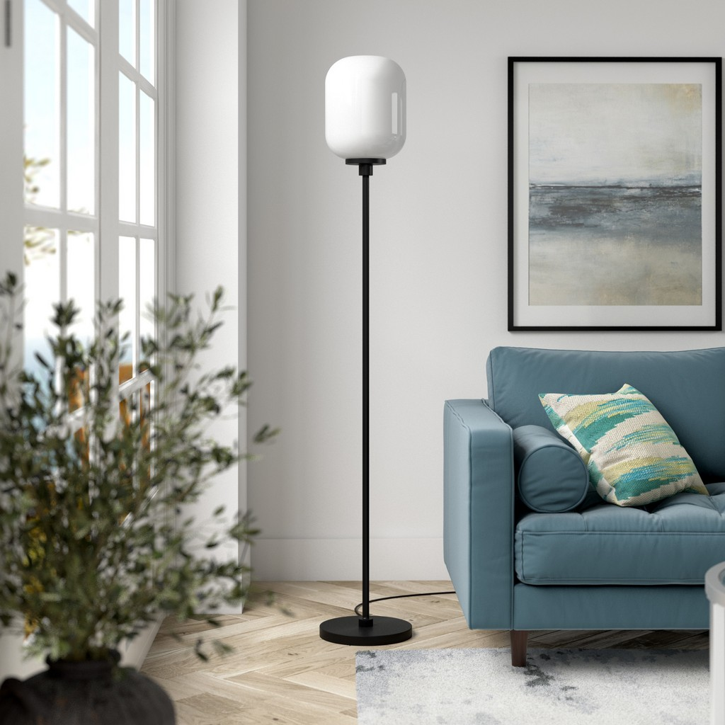 Agnolo Blackened Bronze Floor Lamp with White Milk Glass Shade - Hudson & Canal FL0505