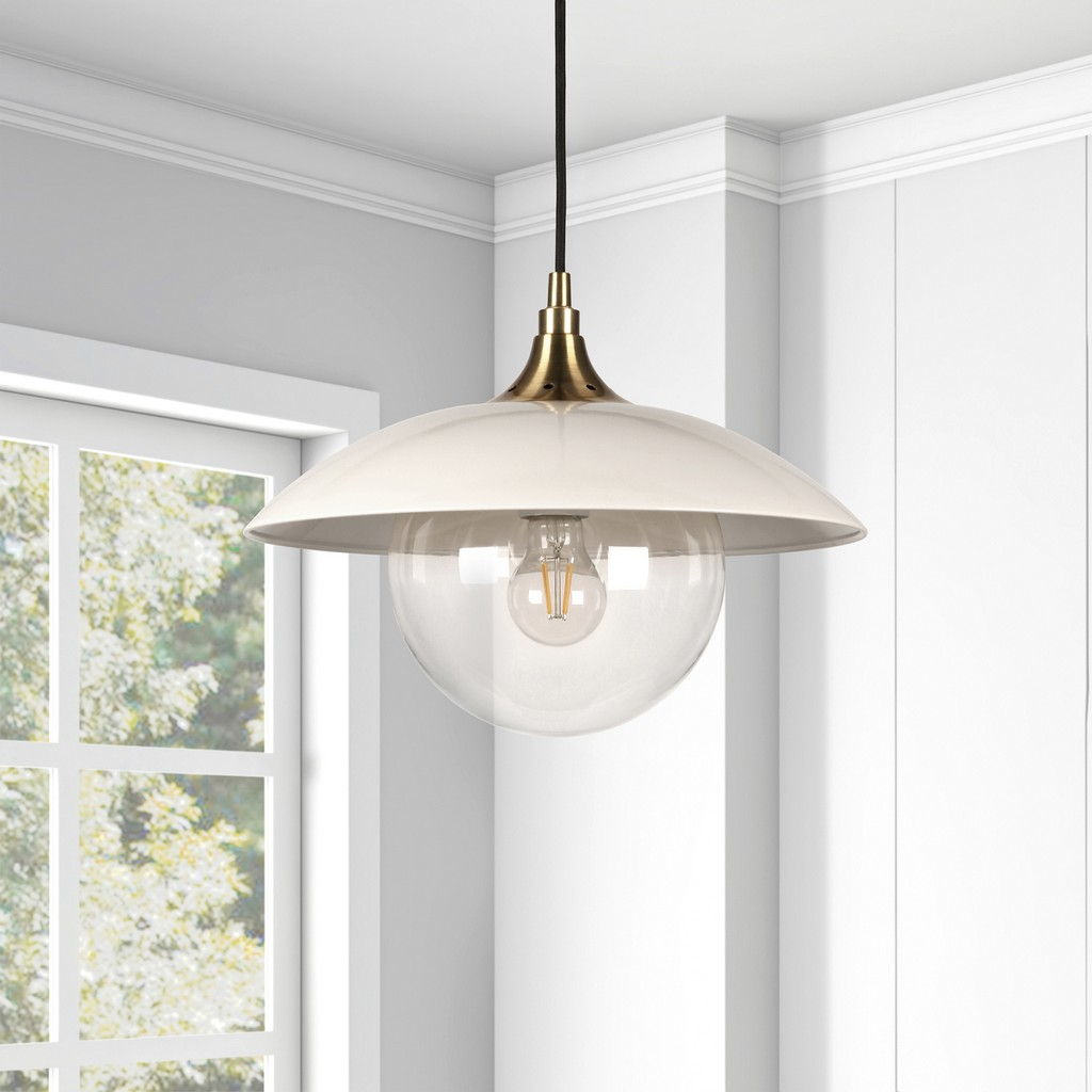 Alvia Pearled White Metal and Glass Pendant with Brass Accents - Hudson & Canal PD0221