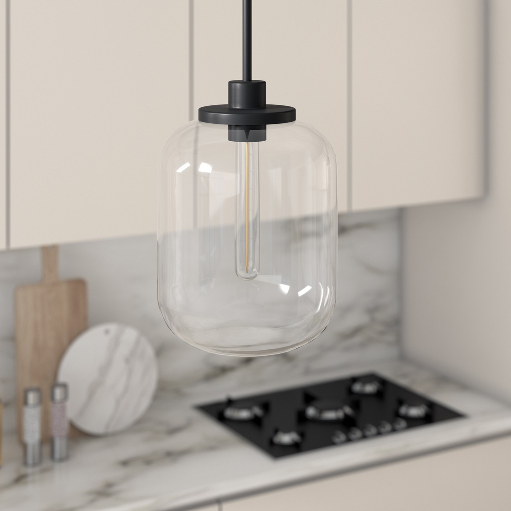 Agnolo Blackened Bronze Pendant with Clear Glass Shade - Hudson & Canal PD0489