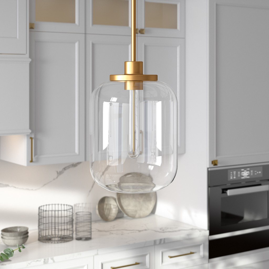 Agnolo Brass Pendant with Clear Glass Shade - Hudson & Canal PD0490