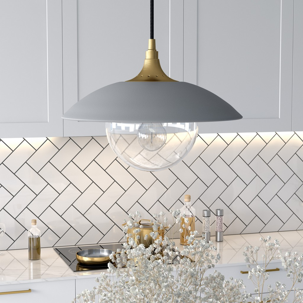 Alvia Cool Gray Metal and Clear Glass Pendant with Brass Accents - Hudson & Canal PD0497