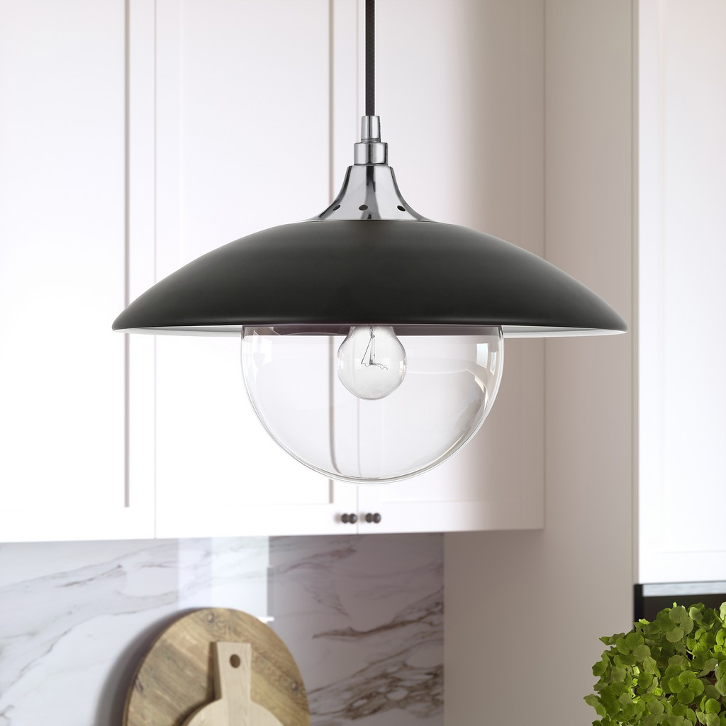 Alvia Matte Black Metal and Clear Glass Pendant with Polished Nickel Accents - Hudson & Canal PD0499