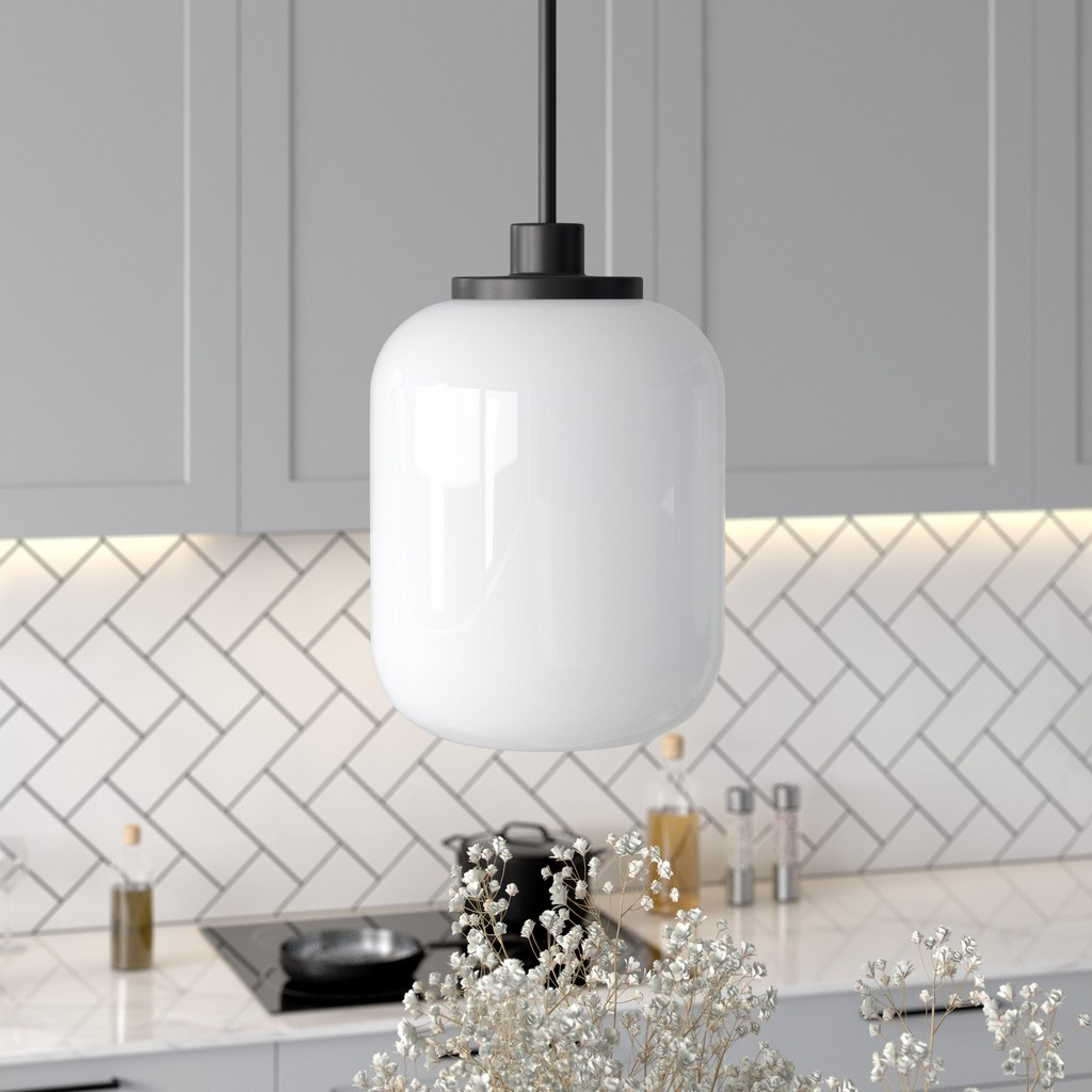 Agnolo Blackened Bronze Pendant with White Milk Glass Shade - Hudson & Canal PD0503