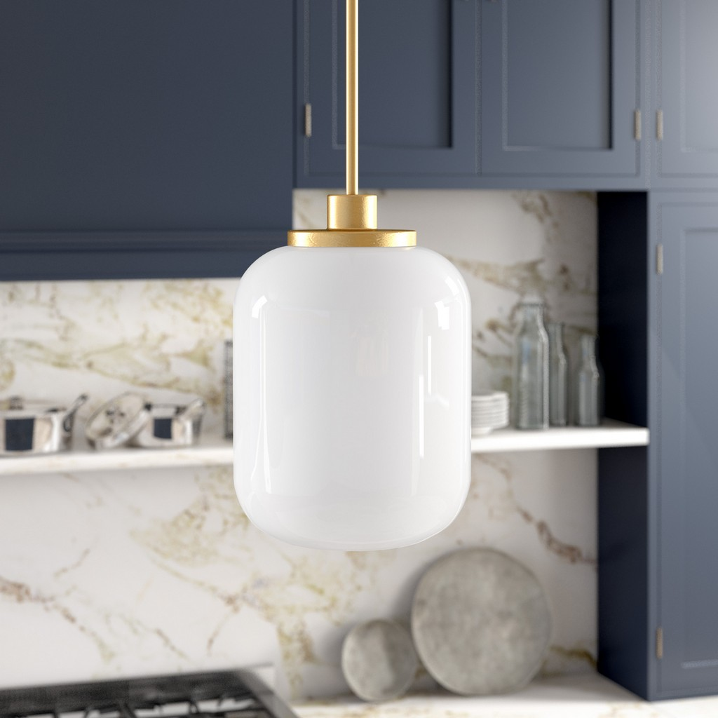 Agnolo Brass Pendant with White Milk Glass Shade - Hudson & Canal PD0504