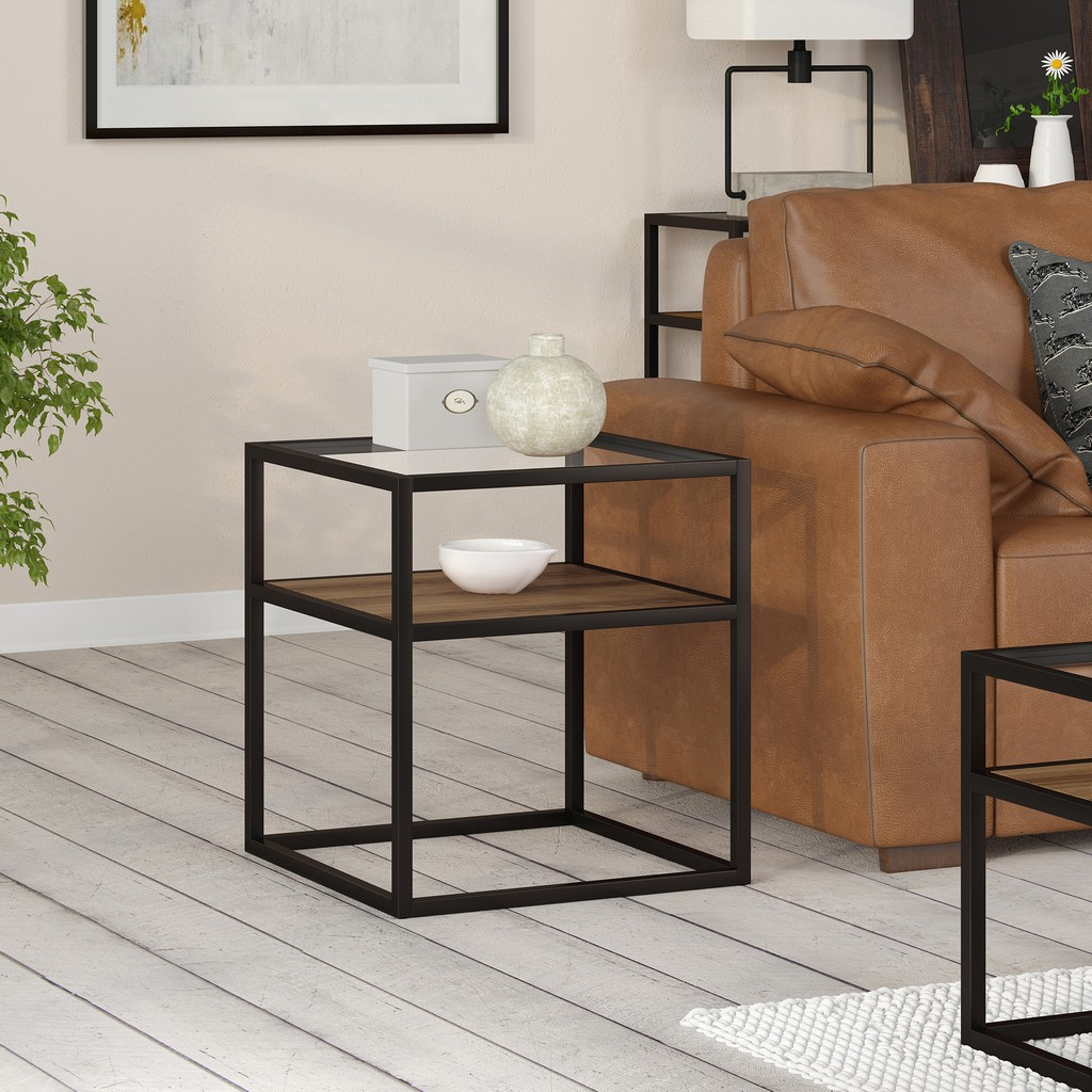 Addison Blackened Bronze and Rustic Oak Side Table - Hudson & Canal ST0165