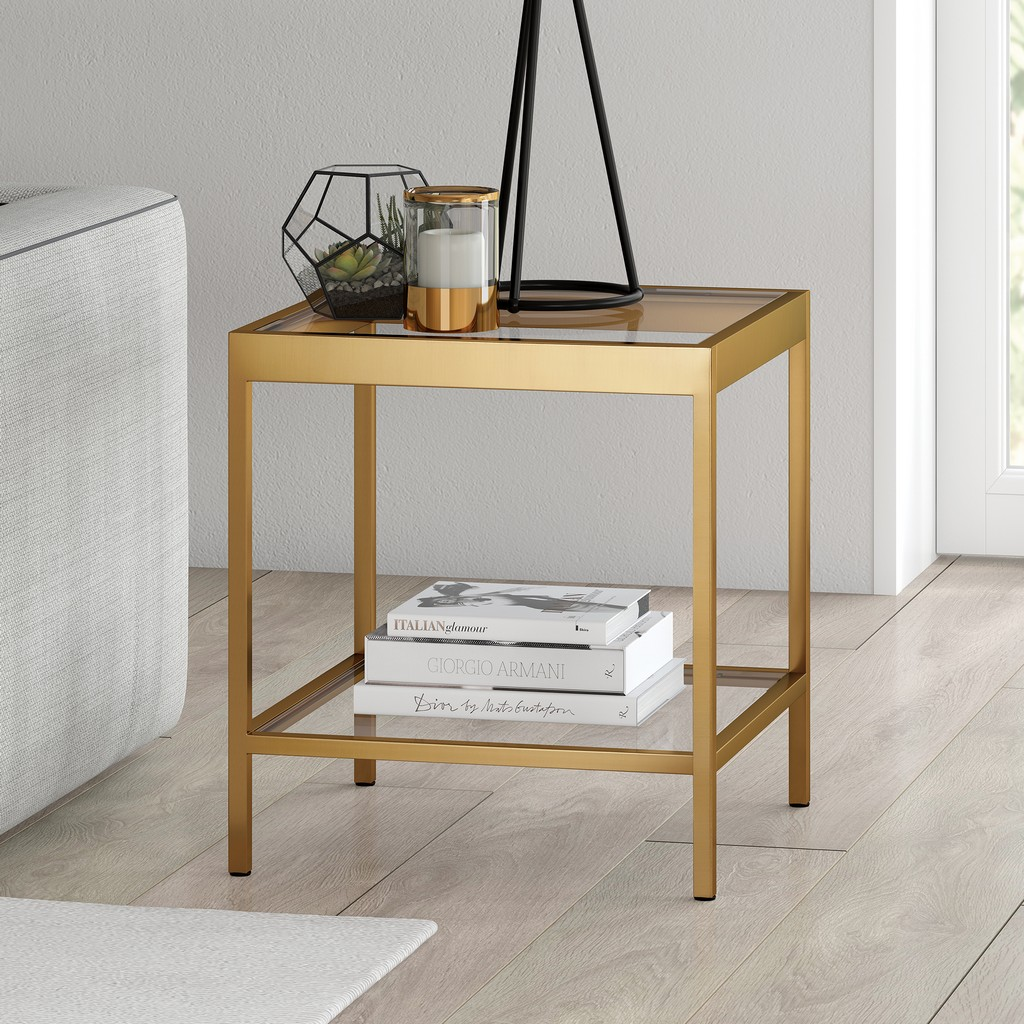 Alexis Brass Finish Side Table - Hudson & Canal ST0381
