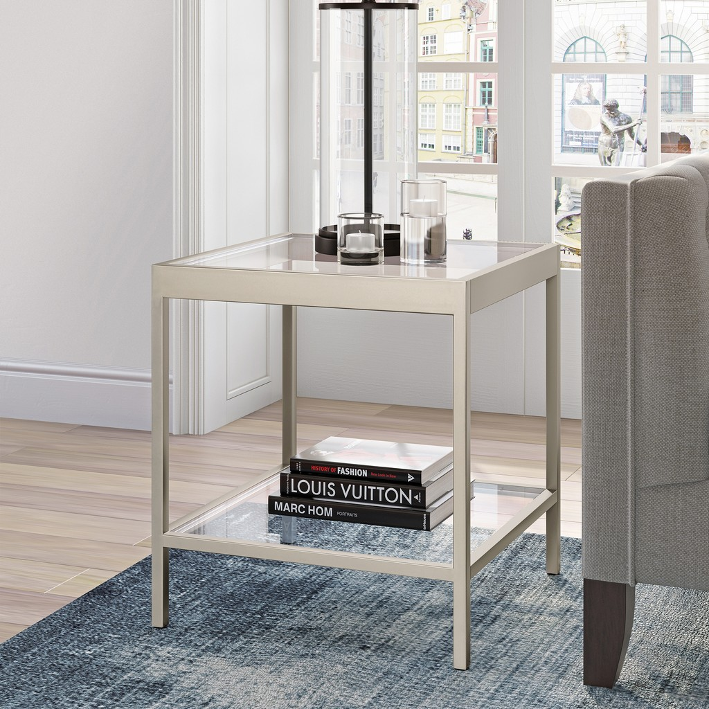 Alexis Satin Nickel Side Table - Hudson & Canal ST0383