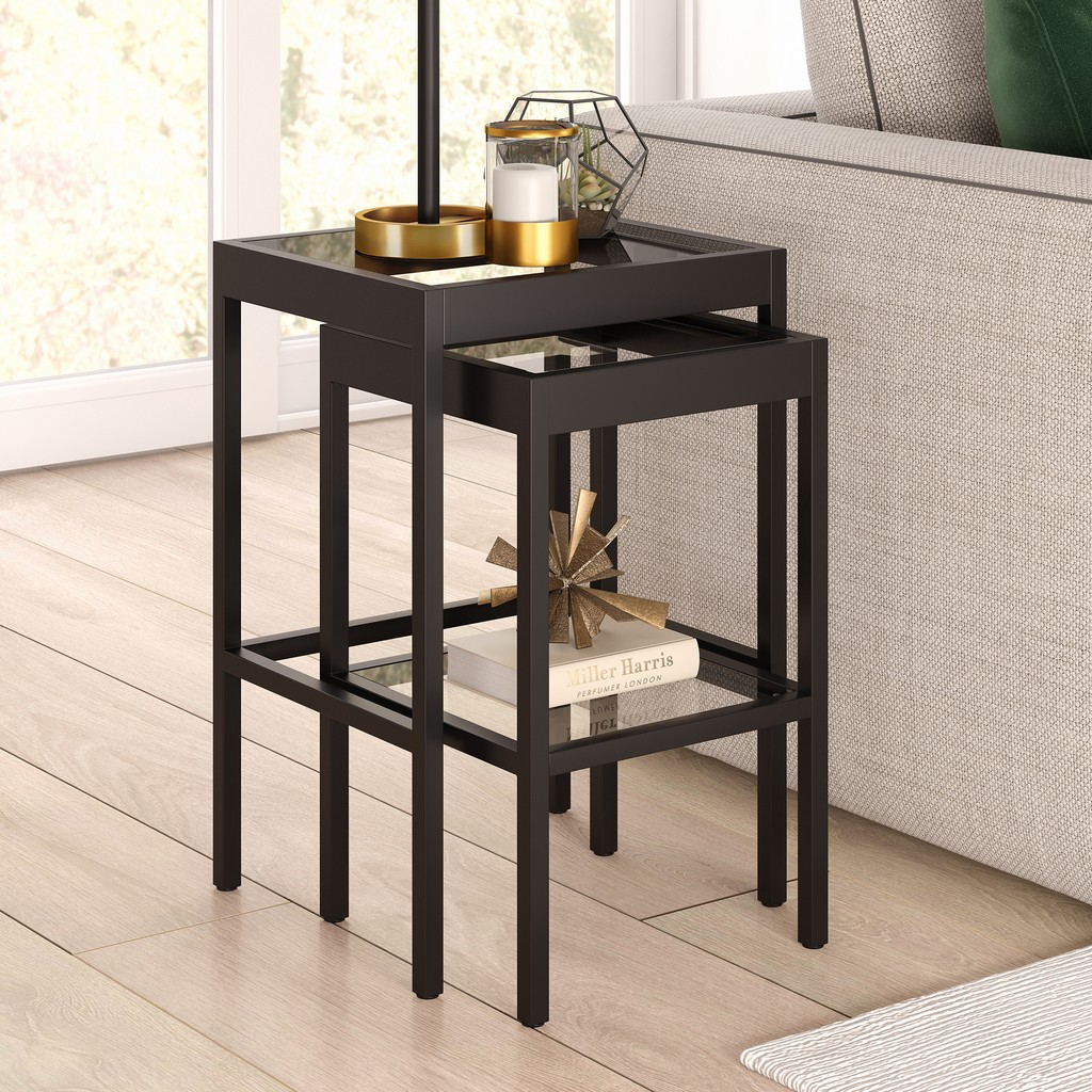 Alexis Blackened Bronze Nested Side Table Set - Hudson & Canal ST0388