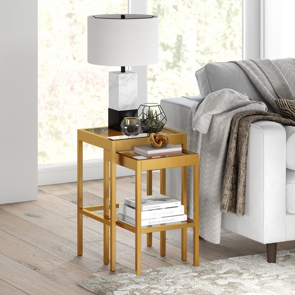 Alexis Brass Finish Nested Side Table Set - Hudson & Canal ST0389