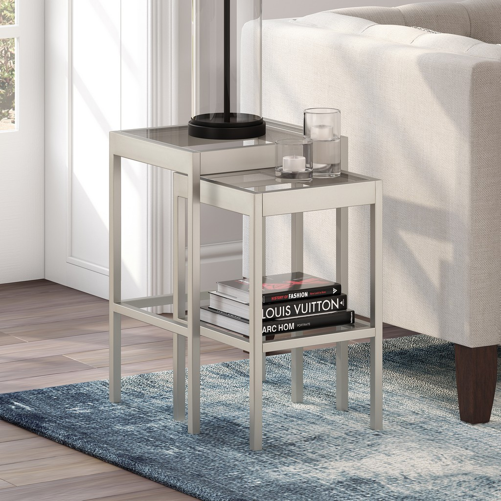 Alexis Satin Nickel Nested Side Table Set - Hudson & Canal ST0390