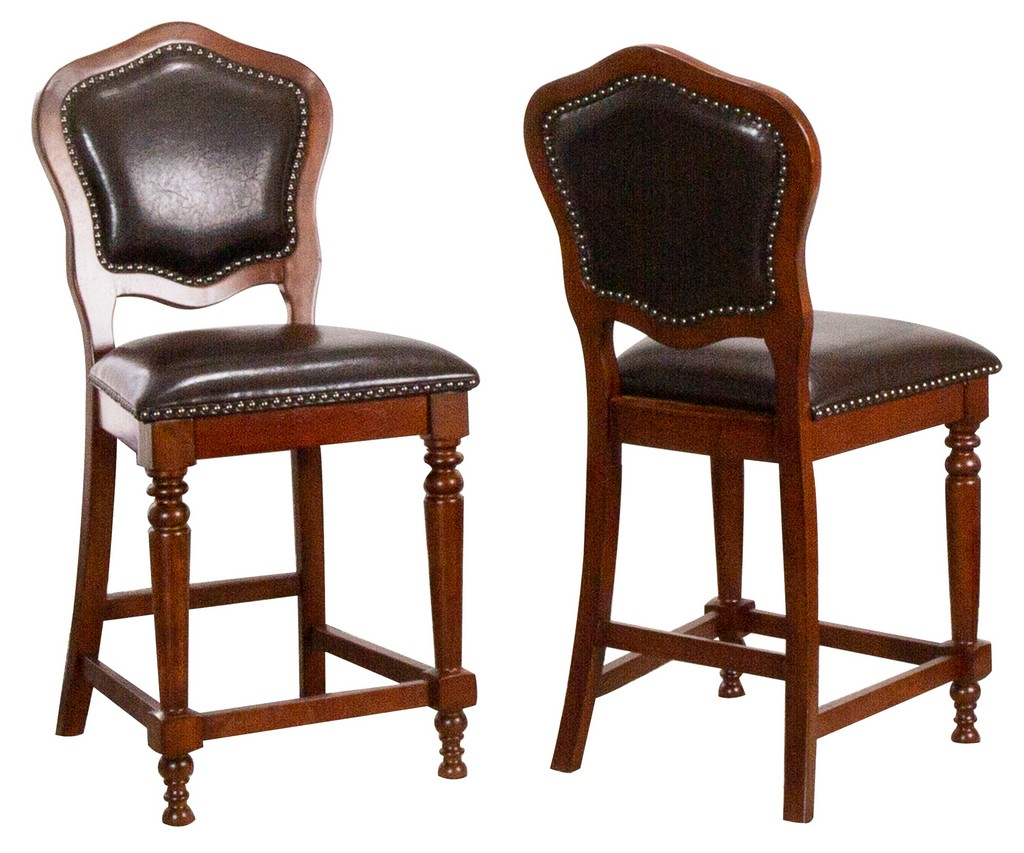Bellagio Upholstered Barstools with Backs Made From Distressed Cherry Brown Wood With Nailheads ( Set of 2 )