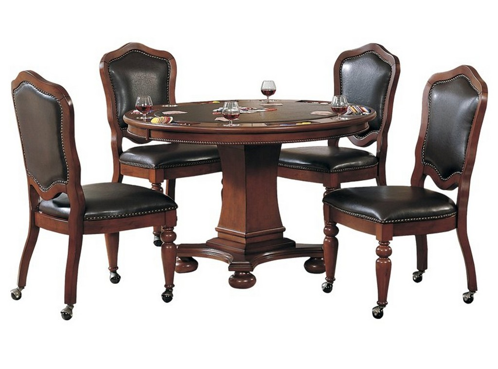 Sunset Trading 5 Piece Bellagio Dining and Poker Table Set With Reversible Game Top And Caster Chairs with Nailheads - Sunset Trading CR-87148-5PC