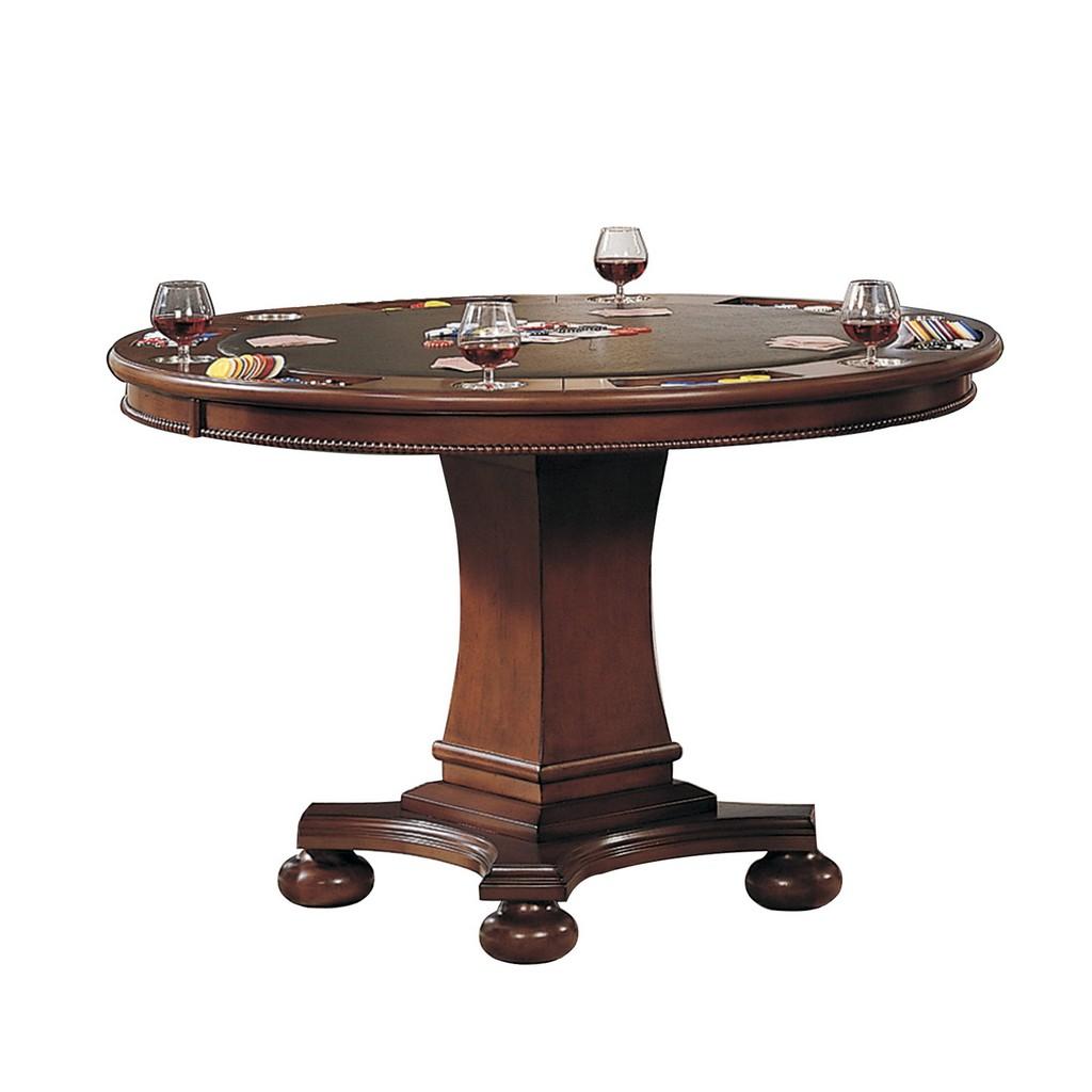 Bellagio Dining Poker Tablewith Reversible Game Top Brown Cherry Wood