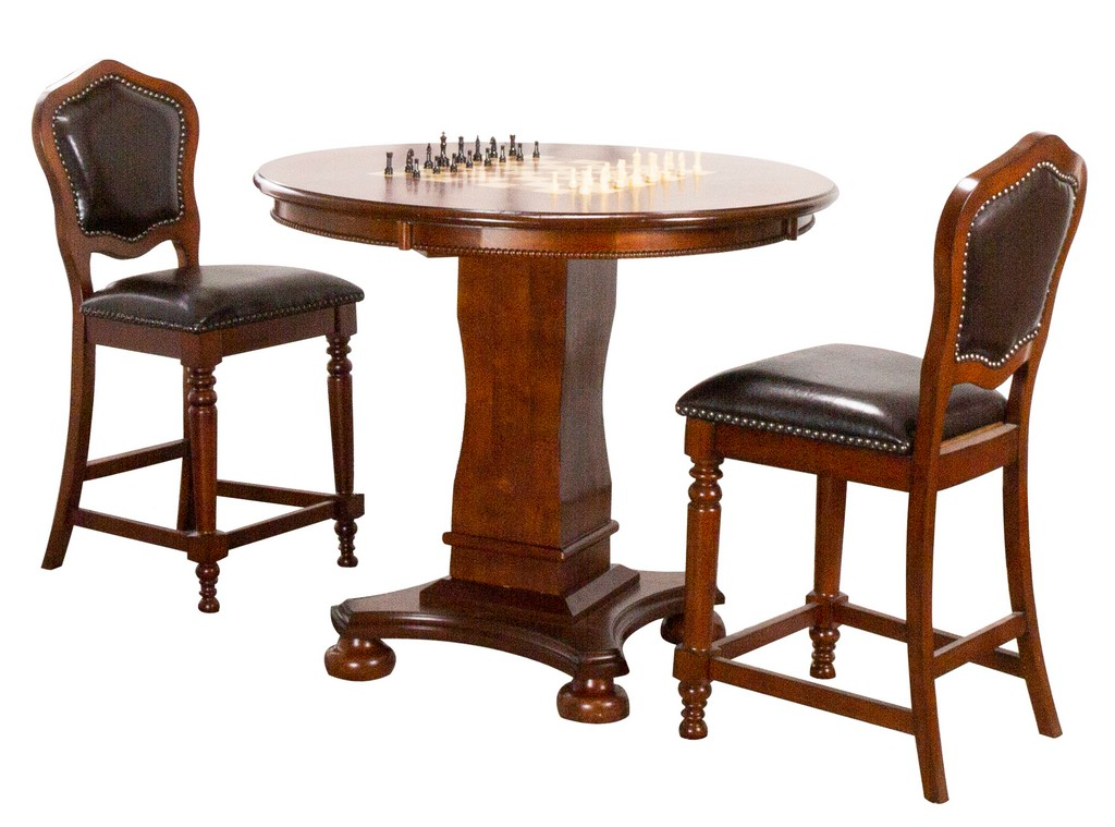 Sunset Bellagio Round Counter Dining Chess Poker Table Set
