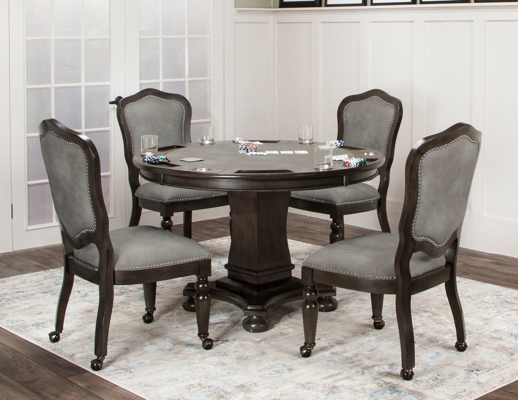 Sunset Trading 5 Piece Vegas Dining and Poker Table Set With Reversible Game Top In Gray Wood With Caster Chairs with Nailheads - Sunset Trading CR-87711-5PC