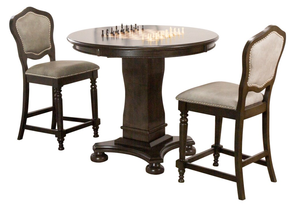 Round Counter Dining Chess Poker Table Set Reversible Game Top Gray Wood Upholstered Stools Nailheads
