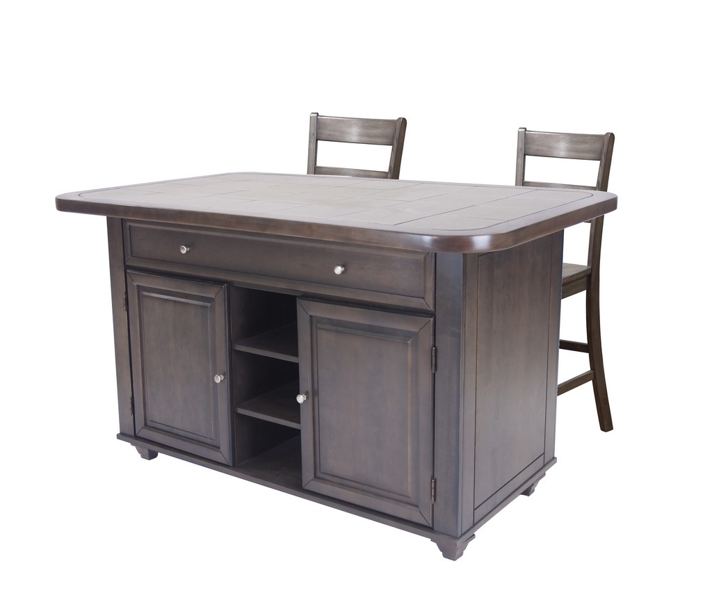 Sunset Trading 3 Piece Antique Gray Kitchen Island Set With Grey Tile Top - Sunset Trading CY-KITT02-B200-AG3PC