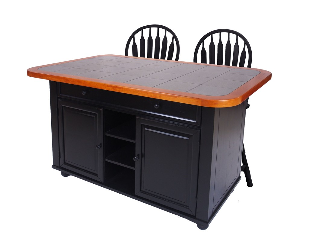 Sunset Trading 3 Piece Antique Black Kitchen Island Set with Gray Tile Top - Sunset Trading CY-KITT02-B24-AB3PC