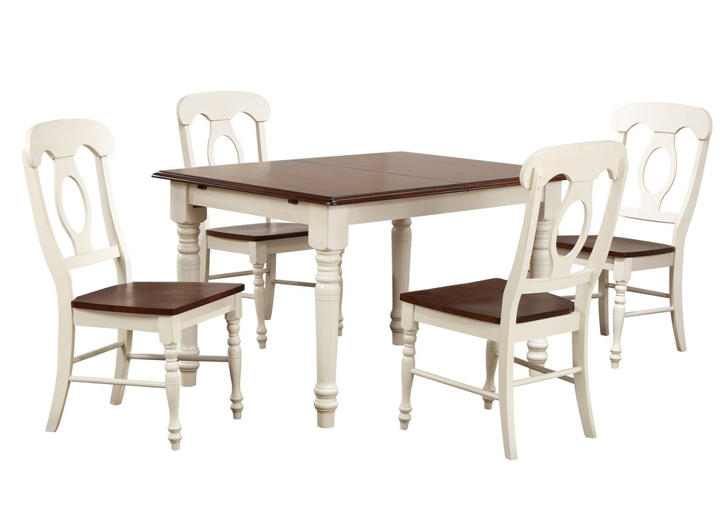 Leaf Dining Set Antique White Chestnut Brown Napoleon Chairs