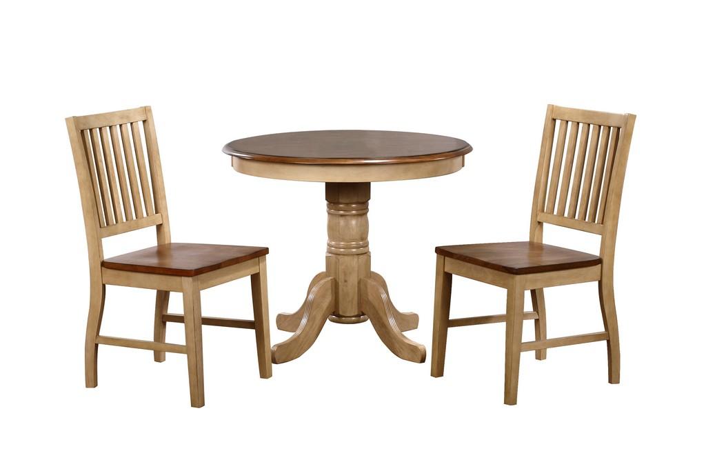 Sunset Round Dining Set Slat Back Chairs