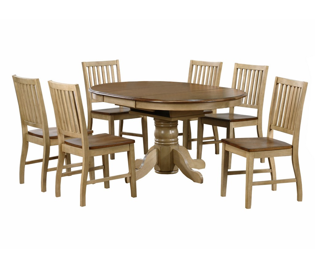 Sunset Round Or Oval Leaf Dining Set Slat Back Chairs