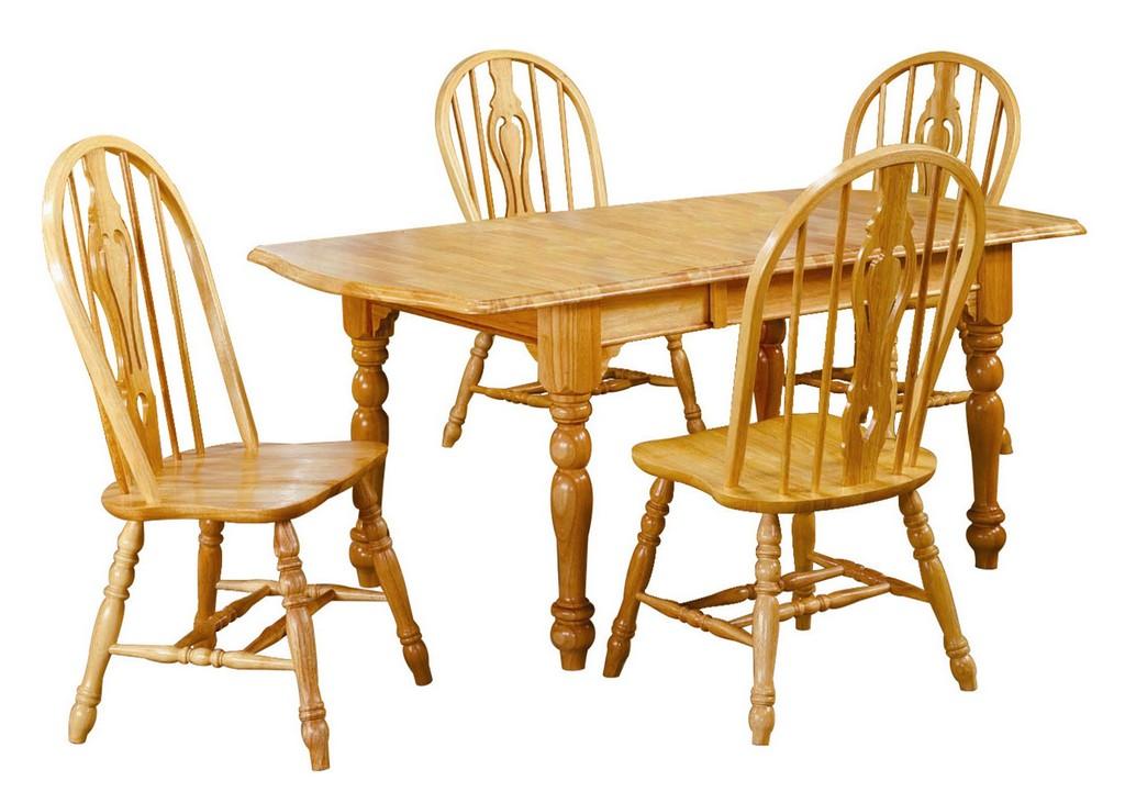 Sunset Oak Drop Leaf Extendable Dining Set Keyhole Chairs
